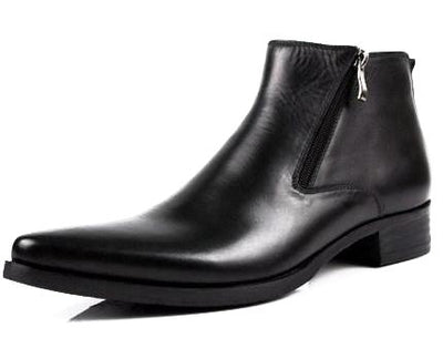 Fashion Leather Dress Boots with Side Zipper for Men