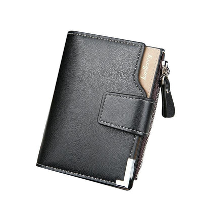 Zipper and Hasp Clutch Leather Wallet for Men