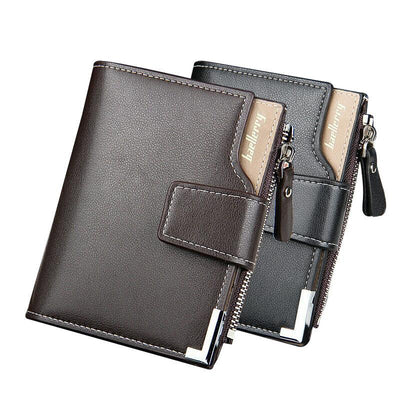 Men's Leather Wallet - Zipper Clutch Style With Hasp