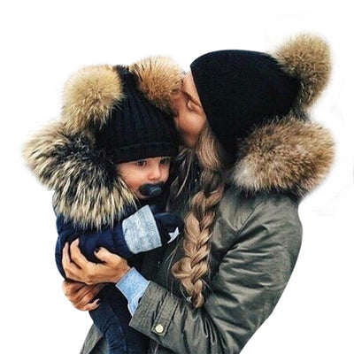 Women's and Kids Matching Warm Beanies | Skullies with Two Fur Pom Poms