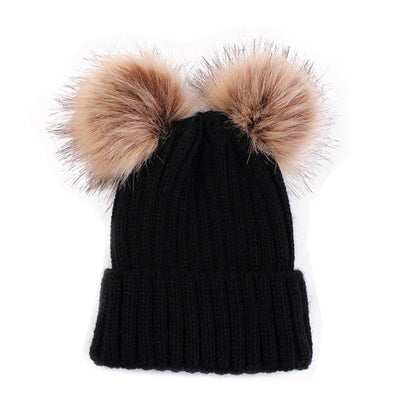 Women's Beanies - Mother and Daughter Wool Knit and Fur Pom Poms