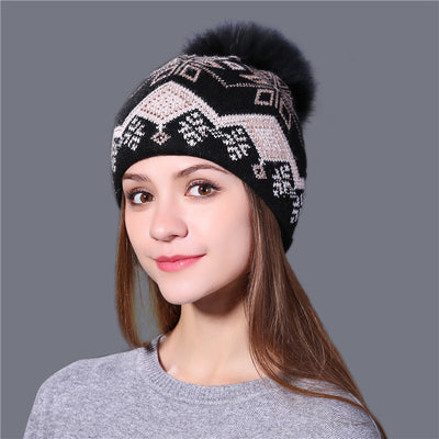 Women's Beanies - Knitted Wool And Mink Fur