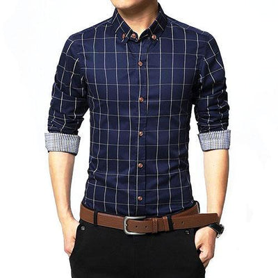 Urban Fashion Casual Plaid Shirts For Men