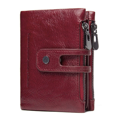 Leather Wallet For Men - Clutch Style With Two Zippers
