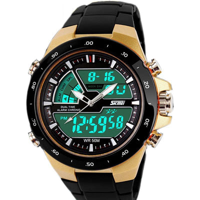 Digital & analogue sports chronograph watch for men; 50m depth, analogue and multiple digital dials