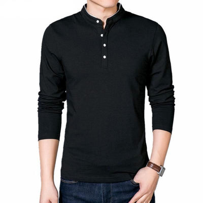 Casual Cotton Shirts for Men - Men's Long Sleeve T-Shirts - Mandarin Collar