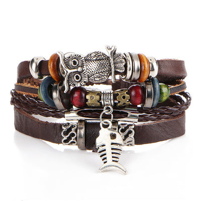 Men's Punk Design Leather Fashion Charm Bracelets