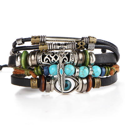 Multi-Cluster Unisex Charm Bracelets - Leather Fashion Bracelets For Men