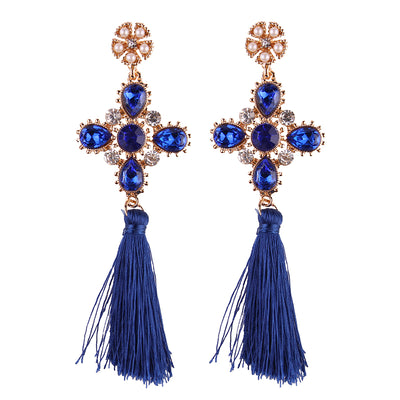 Women's Earrings - Trendy Cross-Shape Rhinestone Tassels