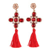 Women's Trendy Earrings - Cross-Shape Rhinestone Tassels In Seven Colors