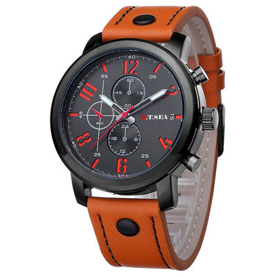 Casual military-style analog quartz watches for men - optional black, gold, blue or coffee colors and leather straps