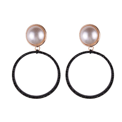 Women's Trendy Fashion Simulated Pearl Stud Earrings with Hoops