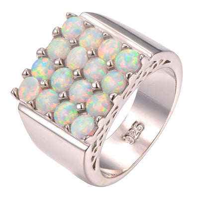White Fire Opal Cluster Square Ring for Women
