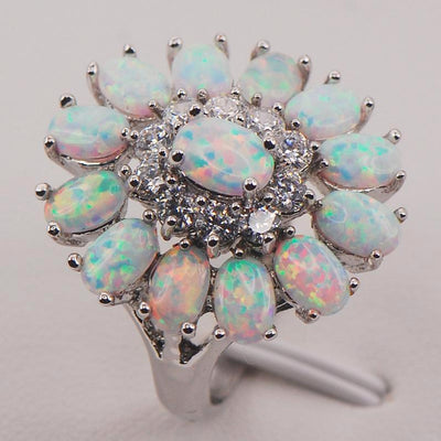 White Fire Opal Cluster Ring for Women