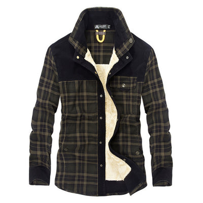 100 Percent Cotton Plaid Fleece-Lined Windbreaker Shirt For Men