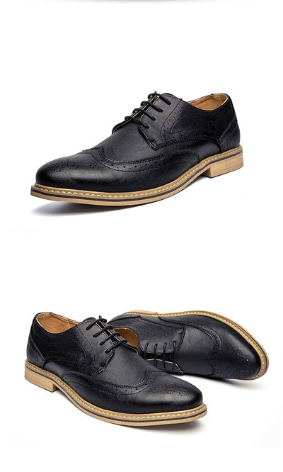 Men's Casual Dress Shoes - Leather Brogue