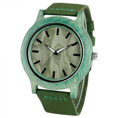 Wooden Green Bamboo Quartz Watch Side