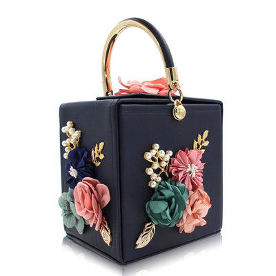 Women's Handbags - Decorative Embroidered Floral Sequin Evening Bag