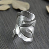 Antique Style 999 Sterling Silver Vintage Leaf Ring