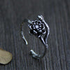 Retro Silver Flower Ring for Women