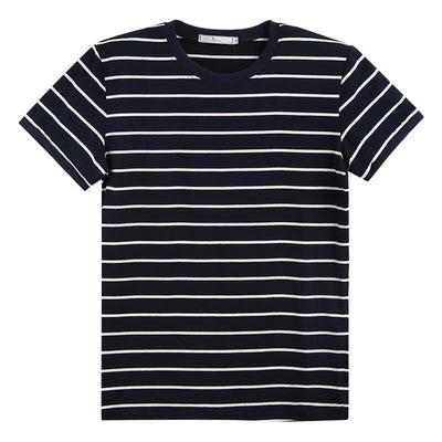 Unisex Urban Fashion Striped Cotton Short Sleeve Form Fit Tee Shirts