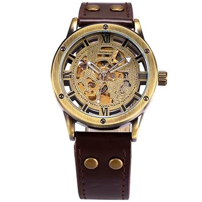 An optional choice of steampunk skeleton automatic mechanical watches for men, in eight styles with black or brown calf skin leather straps.