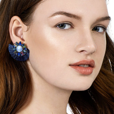 Women's Trendy Crystal Fan-Shaped Earrings