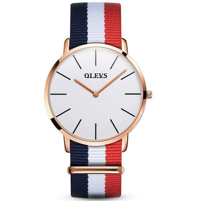 Casual ultra-thin waterproof dress watches; multi-color striped watch straps and gold or black cases with white, black and blue faces
