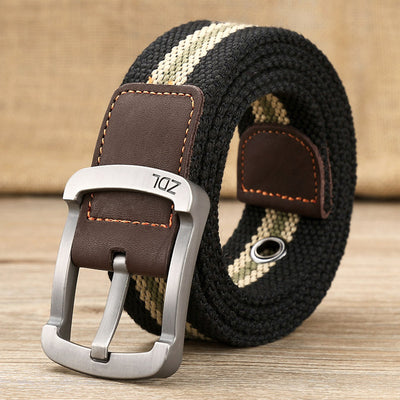 Men's Striped and Plain Canvas Fashion Belts