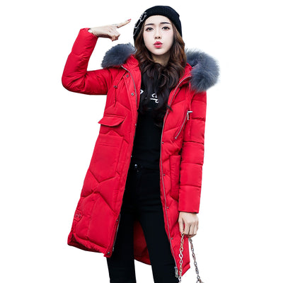 Women's Warm Winter Coat with Fur Collar and Hood