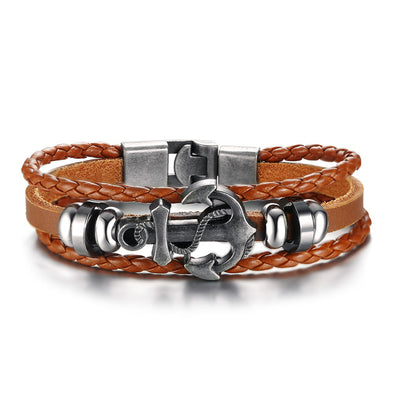 Men's Designer Bracelet - Vintage Anchor And Braided Leather