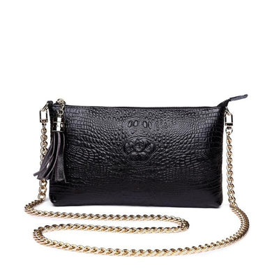 Women's Genuine Leather Crocodile Grain Clutch Handbag