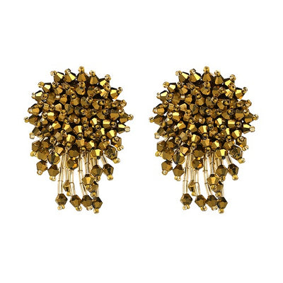 Women's Handmade Earrings - Crystal Bead Chrysanthemum Drop Design