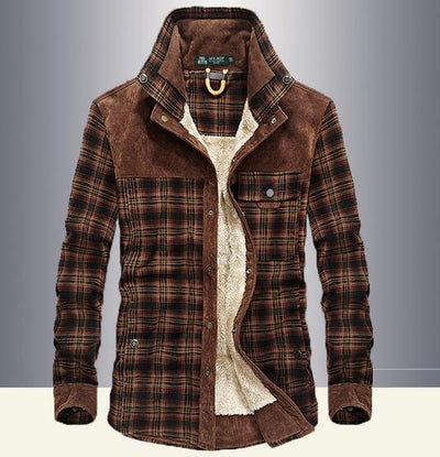 Men's Fleece-Lined Plaid Cotton Windbreaker Shirt