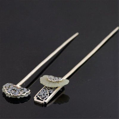 Handmade Antique Style Sterling Silver Hair Sticks