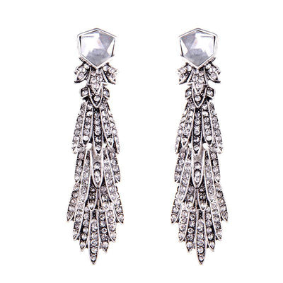 Women's Trendy Fashion Crystal Pendant Stud Earrings