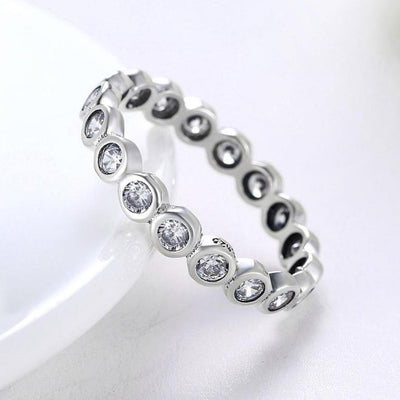 Women's Ring - Trendy Sterling Silver, Crystal and Zircon