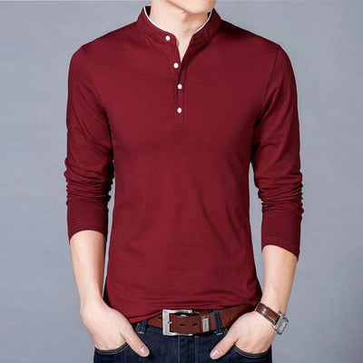 Men's Mandarin Collar Casual Cotton Shirt