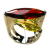 Women's Ring - Garnet, Yellow Crystal Zircon, Sterling Silver