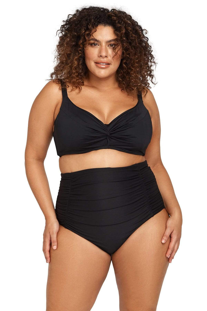 Hues Bikini Bottom Hues Black Raphael High Waist Ruched Swim Pant Plus Size Curvy