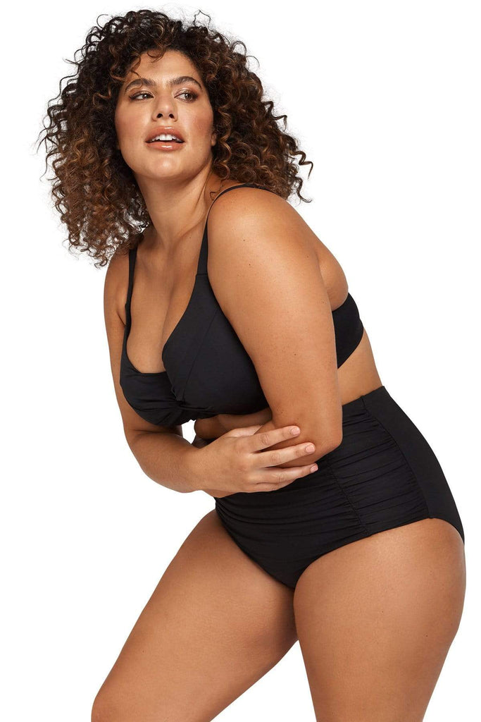 Artesands Plus Size Curvy Swimwear Hues Black Extra Coverage Swim Pant