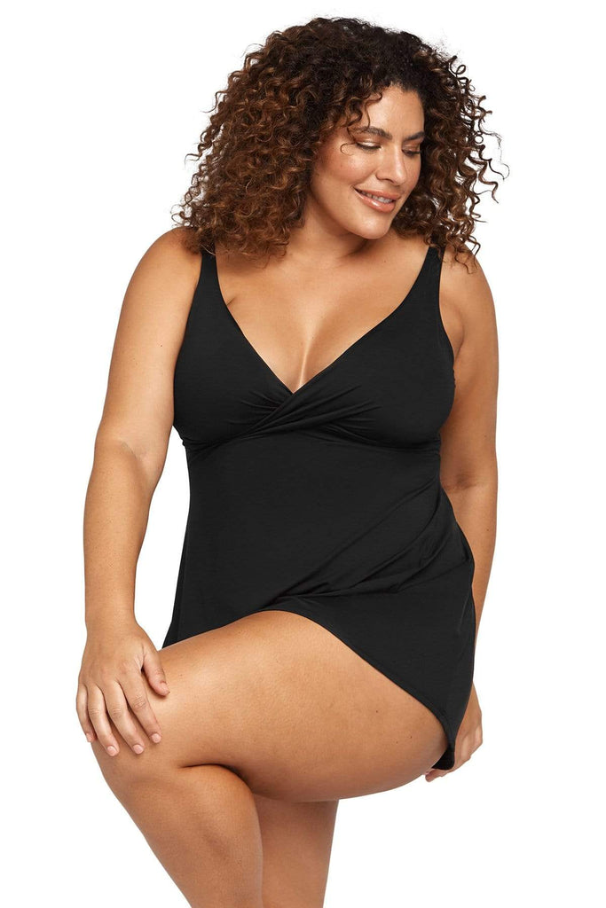 Artesands Plus Size Curvy Swimwear Hues Black Swimdress