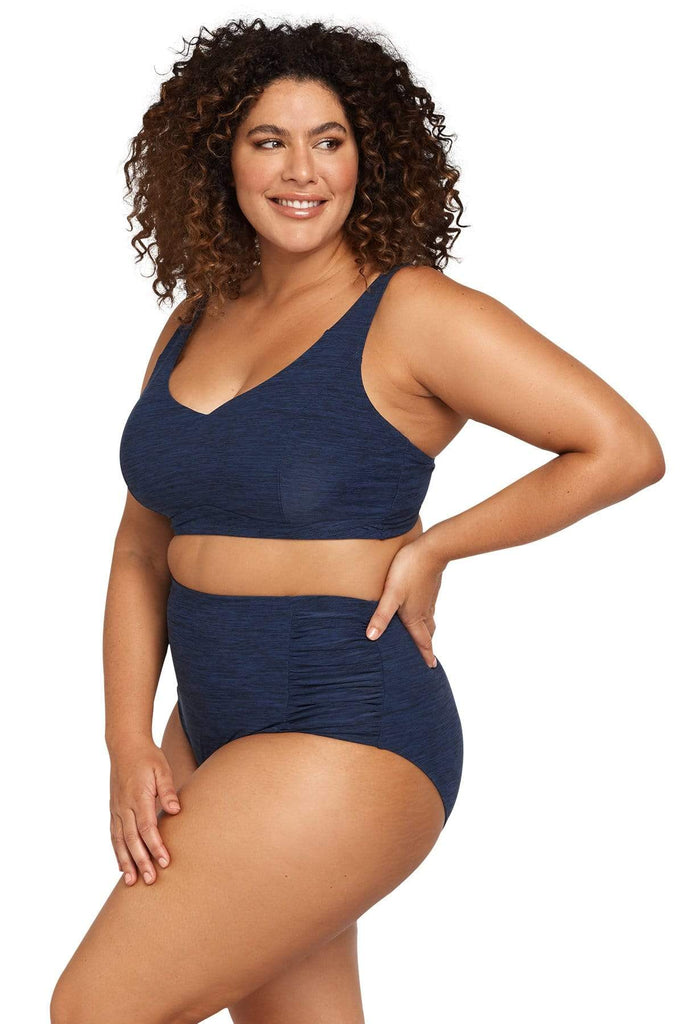 Artesands Plus Size Curvy Swimwear Mélange High Waist Swim Pant
