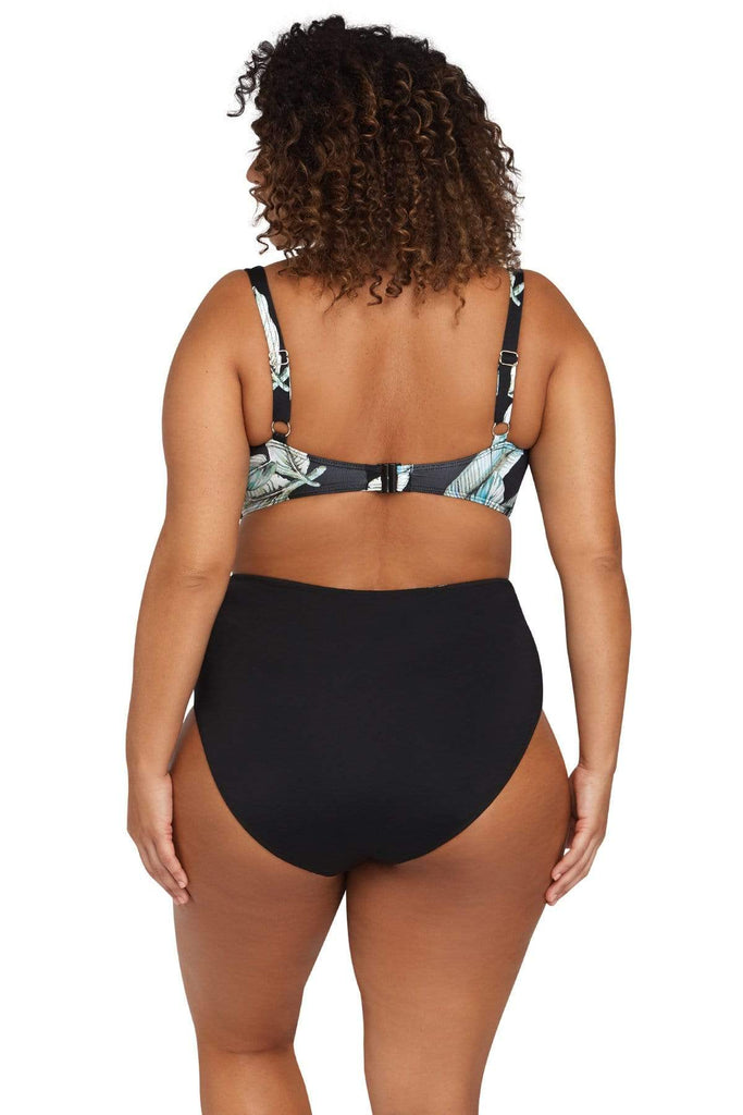 Artesands Seperates Bottom Figaro Black Reversible High Waist Swim Pant Plus Size Curvy