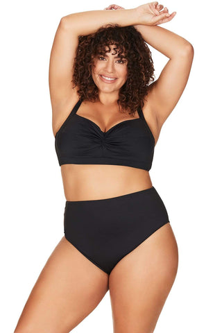 Artesands Plus Size Curvy Swimwear Hues Black Bikini Top