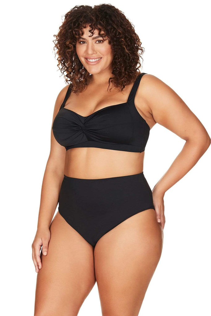 Artesands Seperates Bottom Black Hues High Waist High Leg Swim Pant Plus Size Curvy