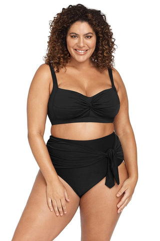 Hues Bikini Bottom Hues Black Hayes High Waist Swim Pant Plus Size Curvy