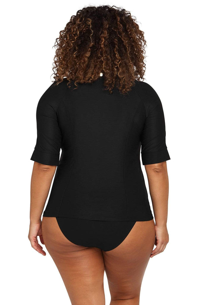 Artesands Plus Size Curvy Swimwear Hues Black Sunsafe Top