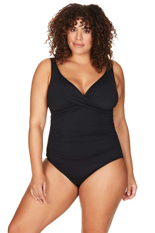 Artesands Plus Size Curvy Swimwear Hues Black One Piece