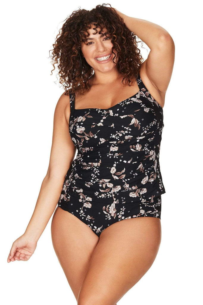 Artesands Seperates Tops Black Vineyasa Botticelli Tankini Top Plus Size Curvy